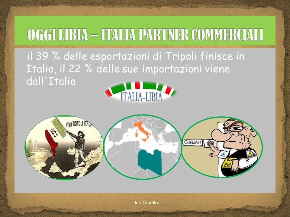 il 39 % delle esportazioni di Tripoli finisce in Italia, il 22 % delle sue importazioni viene dall'Italia
