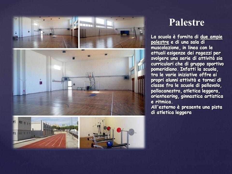 Palestre La scuola è fornita di due ampie palestre e di una sala di muscolazione, in linea con le attuali esigenze dei ragazzi per svolgere una serie di attività sia curriculari che di gruppo sportivo pomeridiano.