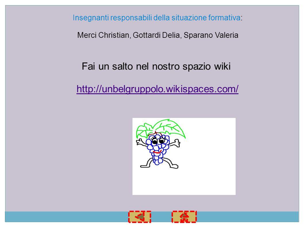 Fai un salto nel nostro spazio wiki http://unbelgruppolo.wikispaces.com/ Insegnanti responsabili della situazione formativa: Merci Christian, Gottardi