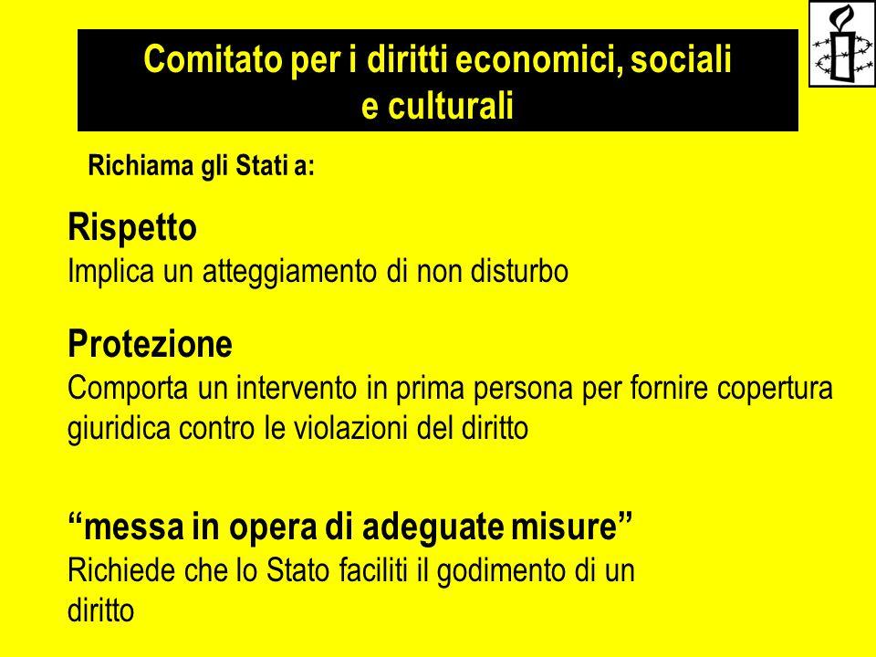 Comitato per i diritti economici, sociali e culturali Rispetto Implica un atteggiamento di non disturbo Protezione Comporta un intervento in prima per