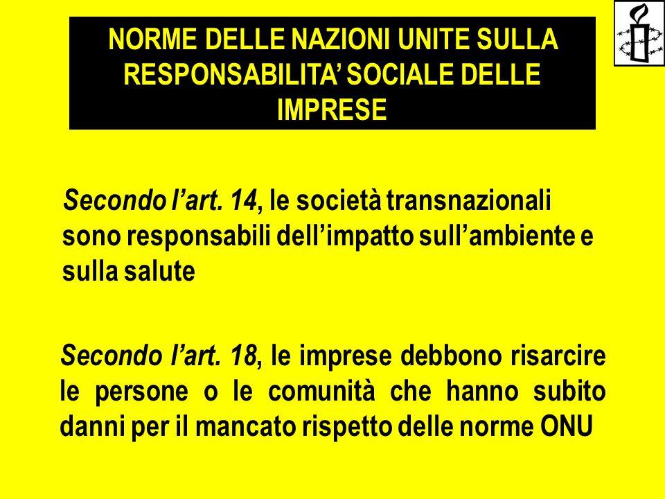NORME DELLE NAZIONI UNITE SULLA RESPONSABILITA' SOCIALE DELLE IMPRESE Secondo l'art. 14, le società transnazionali sono responsabili dell'impatto sull