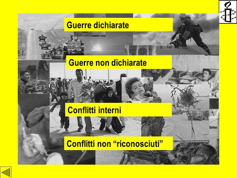 """Guerre dichiarate Guerre non dichiarate Conflitti interni Conflitti non """"riconosciuti"""""""