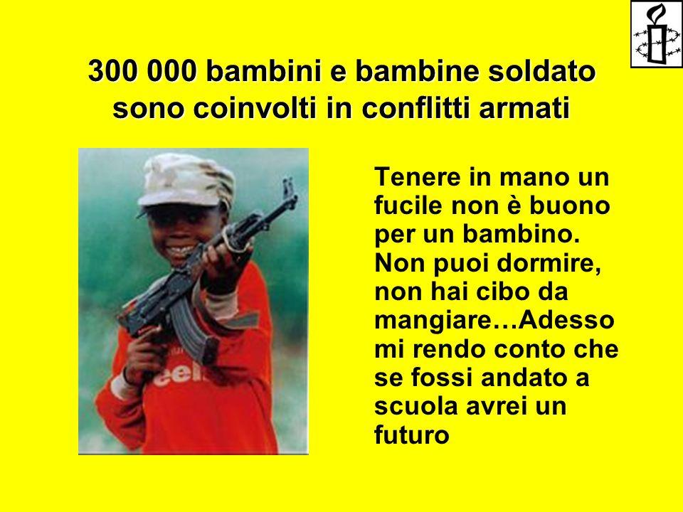 300 000 bambini e bambine soldato sono coinvolti in conflitti armati Tenere in mano un fucile non è buono per un bambino. Non puoi dormire, non hai ci