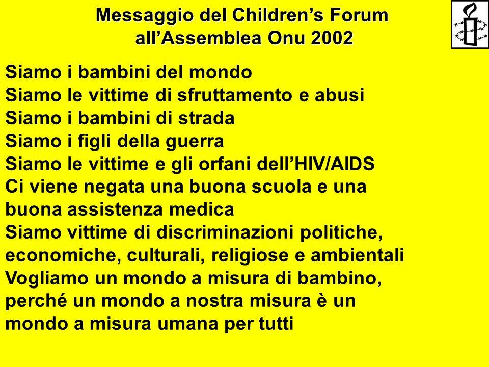 Messaggio del Children's Forum all'Assemblea Onu 2002 Siamo i bambini del mondo Siamo le vittime di sfruttamento e abusi Siamo i bambini di strada Sia