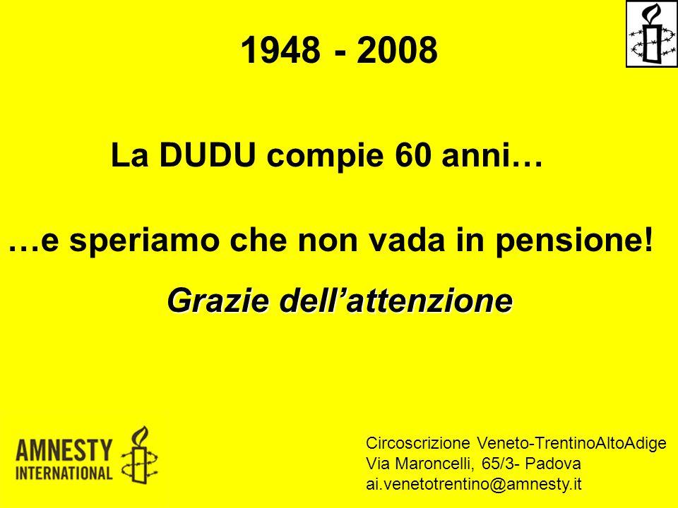 1948 - 2008 La DUDU compie 60 anni… …e speriamo che non vada in pensione! Grazie dell'attenzione Circoscrizione Veneto-TrentinoAltoAdige Via Maroncell