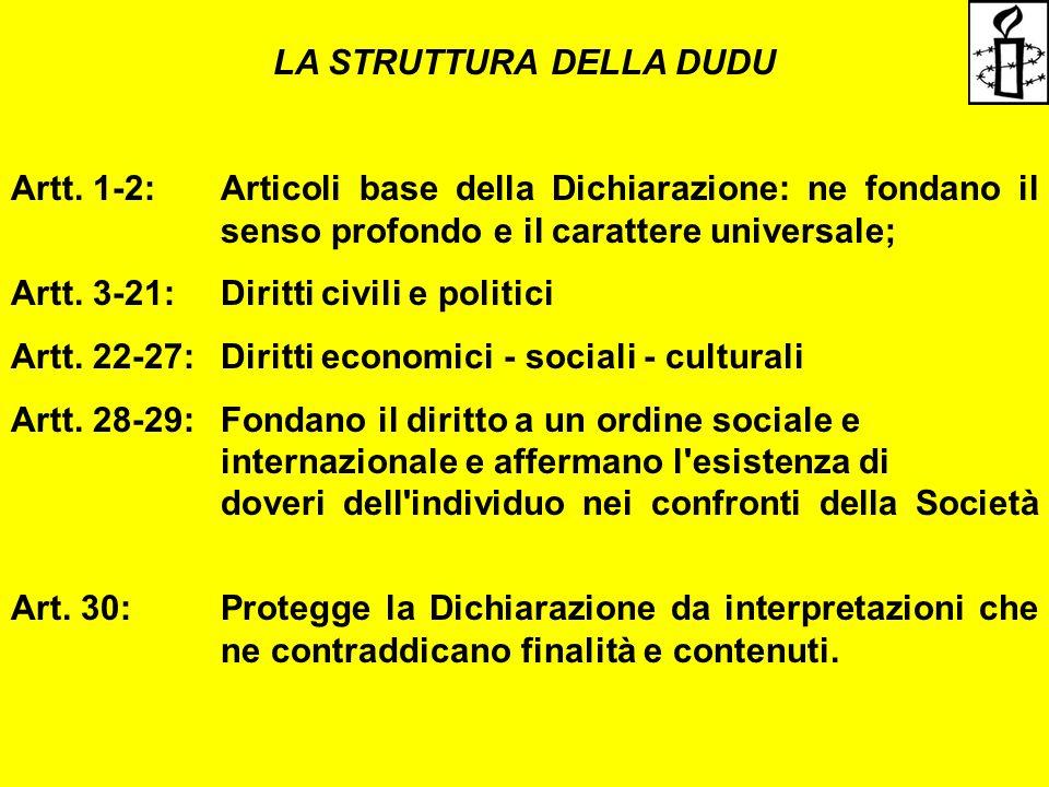 LA STRUTTURA DELLA DUDU Artt. 1-2: Articoli base della Dichiarazione: ne fondano il senso profondo e il carattere universale; Artt. 3-21: Diritti civi