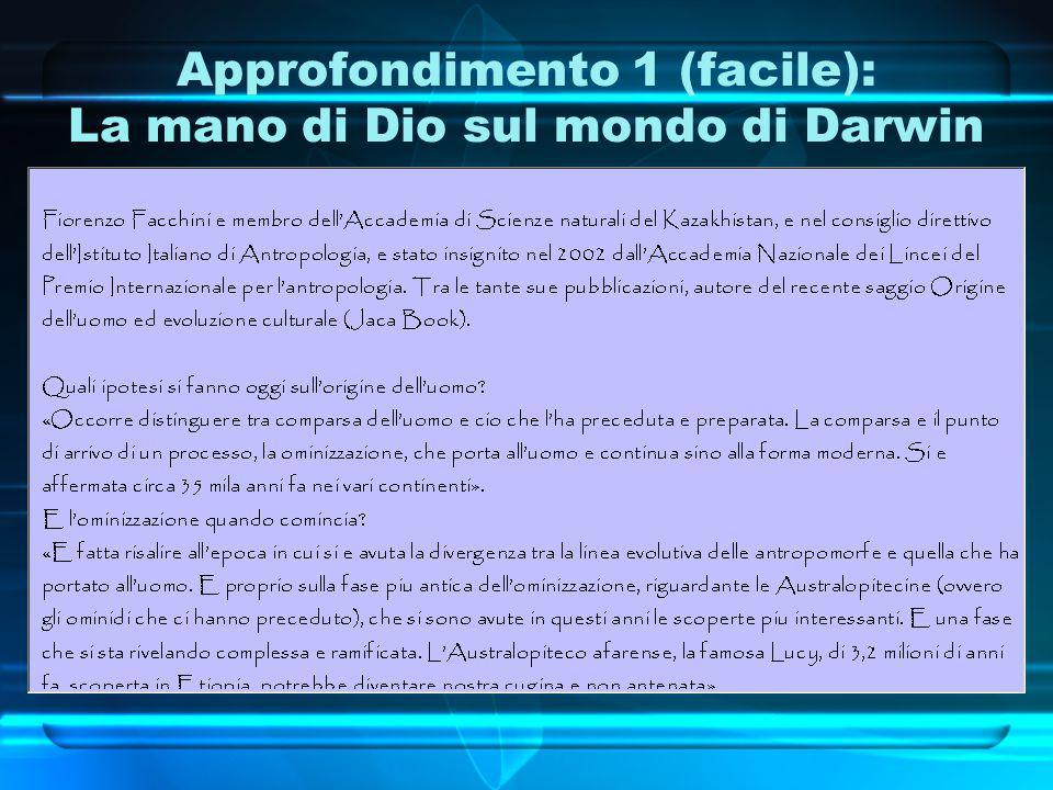 Approfondimento 1 (facile): La mano di Dio sul mondo di Darwin