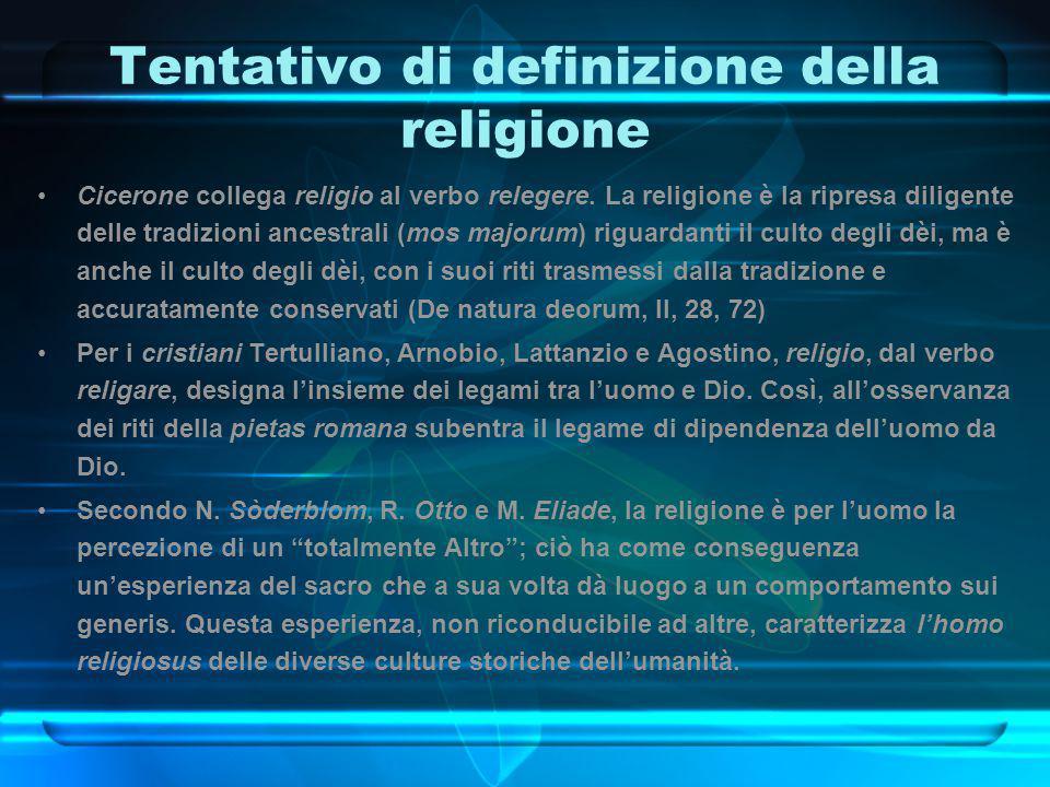 Tentativo di definizione della religione Cicerone collega religio al verbo relegere. La religione è la ripresa diligente delle tradizioni ancestrali (