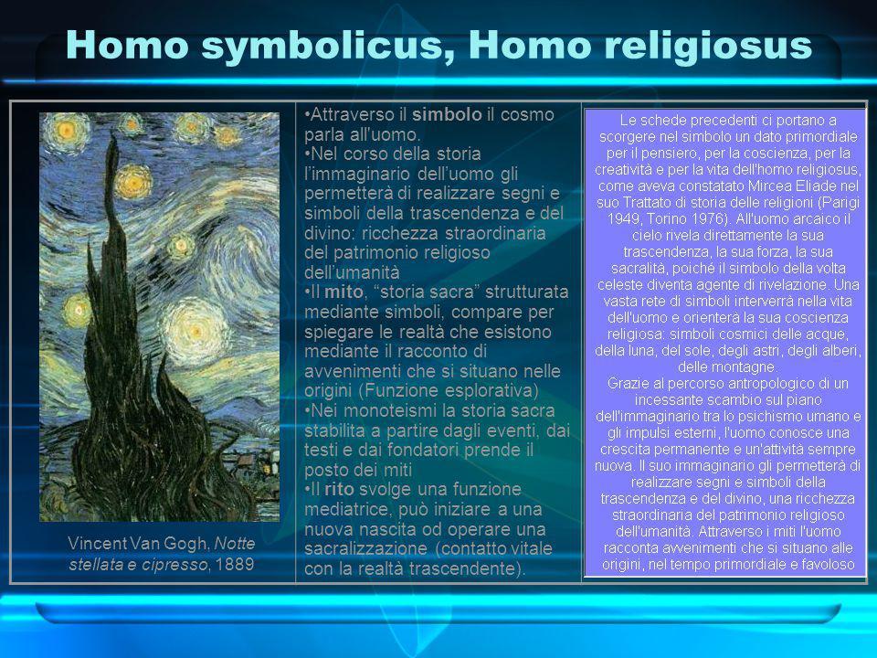 Homo symbolicus, Homo religiosus Attraverso il simbolo il cosmo parla all'uomo. Nel corso della storia l'immaginario dell'uomo gli permetterà di reali