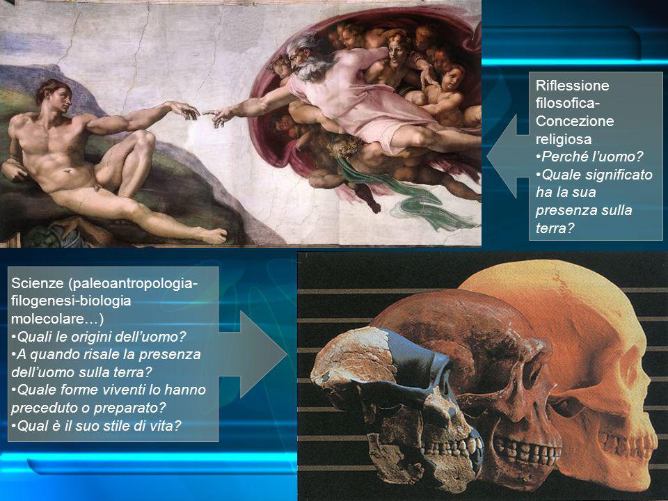 Scienze (paleoantropologia-filogenesi-biologiamolecolare…) Quali le origini dell'uomo? A quando risale la presenza dell'uomo sulla terra? Quale forme
