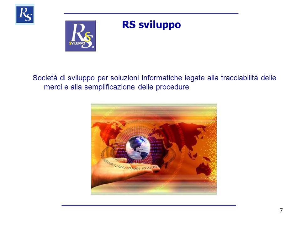 7 RS sviluppo Società di sviluppo per soluzioni informatiche legate alla tracciabilità delle merci e alla semplificazione delle procedure