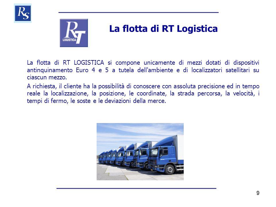 9 La flotta di RT Logistica La flotta di RT LOGISTICA si compone unicamente di mezzi dotati di dispositivi antinquinamento Euro 4 e 5 a tutela dell ambiente e di localizzatori satellitari su ciascun mezzo.