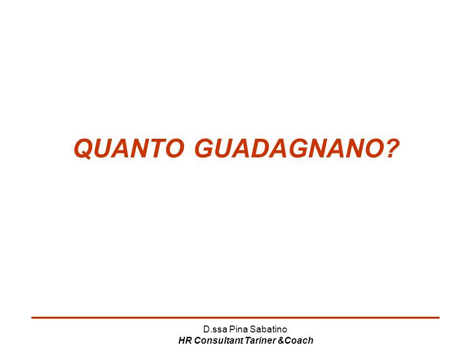 D.ssa Pina Sabatino HR Consultant Tariner &Coach QUANTO GUADAGNANO?