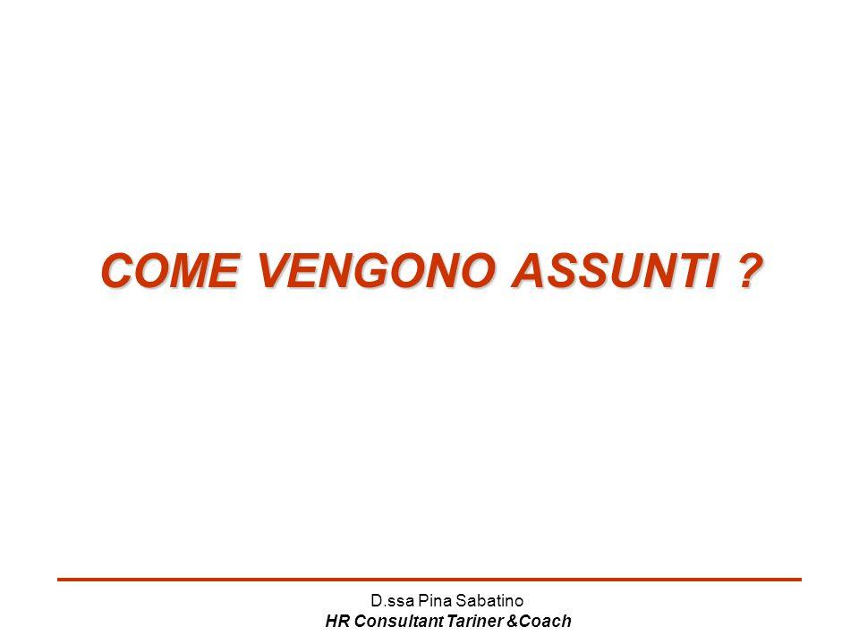 D.ssa Pina Sabatino HR Consultant Tariner &Coach COME VENGONO ASSUNTI ?