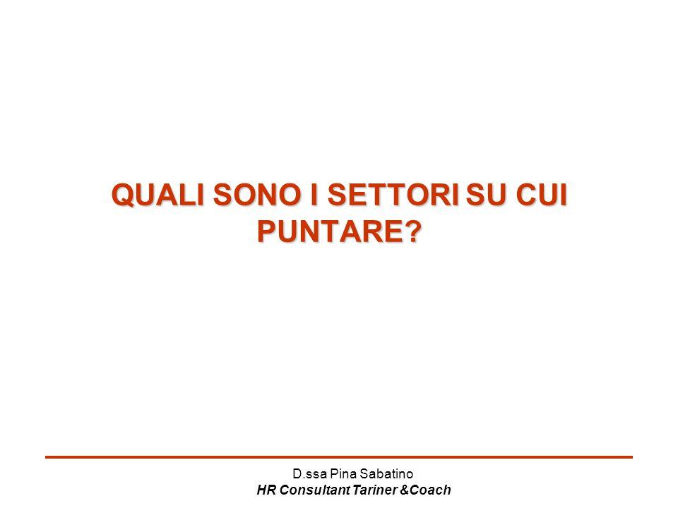 D.ssa Pina Sabatino HR Consultant Tariner &Coach QUALI SONO I SETTORI SU CUI PUNTARE?