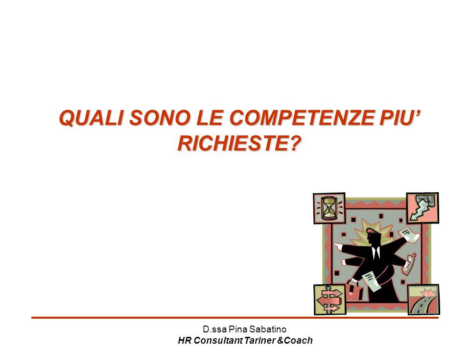 D.ssa Pina Sabatino HR Consultant Tariner &Coach QUALI SONO LE COMPETENZE PIU' RICHIESTE?