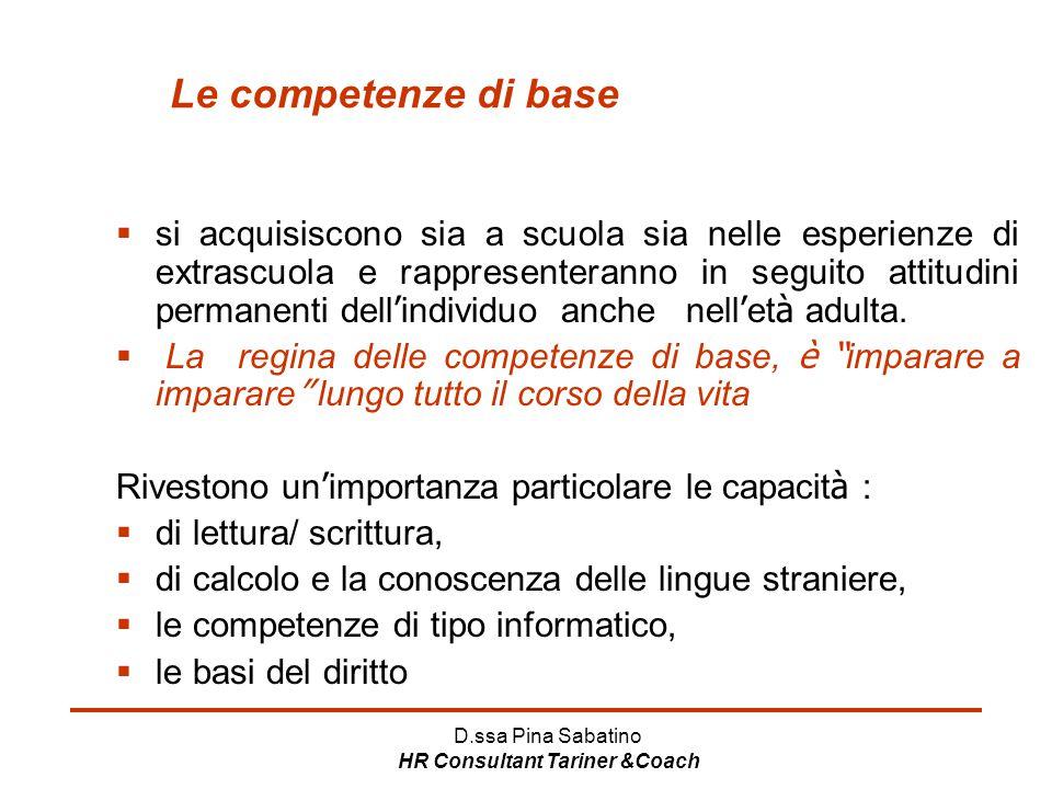 D.ssa Pina Sabatino HR Consultant Tariner &Coach Le competenze di base  si acquisiscono sia a scuola sia nelle esperienze di extrascuola e rappresent
