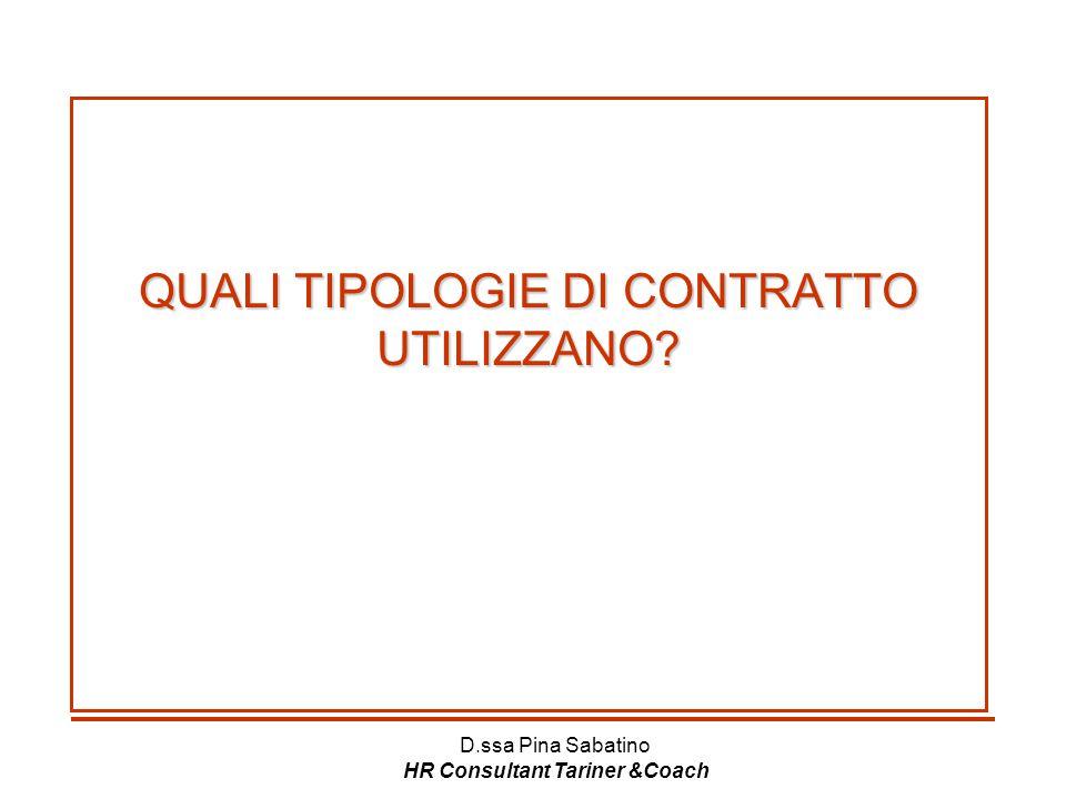 D.ssa Pina Sabatino HR Consultant Tariner &Coach QUALI TIPOLOGIE DI CONTRATTO UTILIZZANO? QUALI TIPOLOGIE DI CONTRATTO UTILIZZANO?