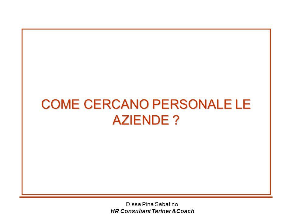 D.ssa Pina Sabatino HR Consultant Tariner &Coach COME CERCANO PERSONALE LE AZIENDE ?