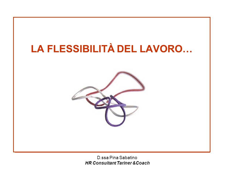 D.ssa Pina Sabatino HR Consultant Tariner &Coach LA FLESSIBILITÀ DEL LAVORO…
