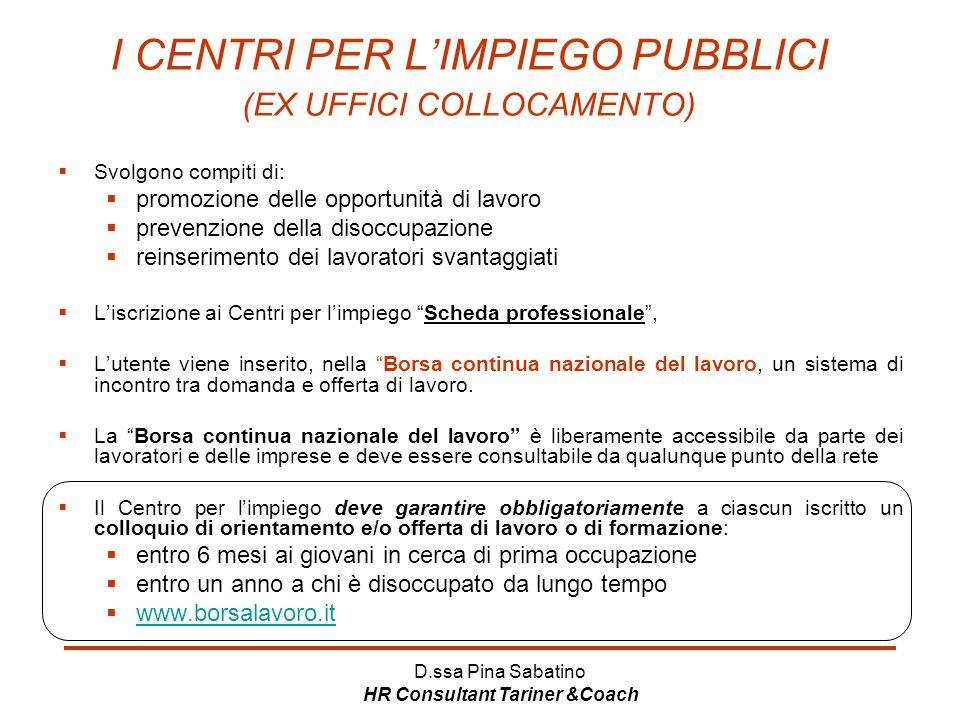 D.ssa Pina Sabatino HR Consultant Tariner &Coach I CENTRI PER L'IMPIEGO PUBBLICI (EX UFFICI COLLOCAMENTO)  Svolgono compiti di:  promozione delle op