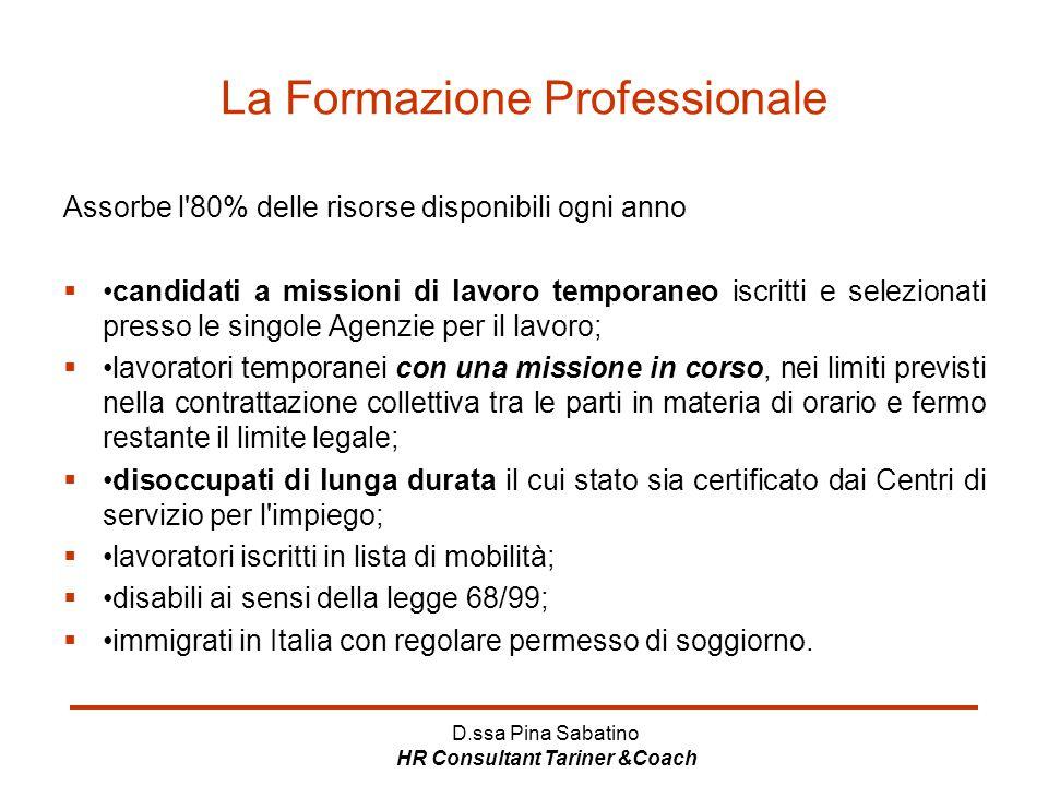 D.ssa Pina Sabatino HR Consultant Tariner &Coach La Formazione Professionale Assorbe l'80% delle risorse disponibili ogni anno candidati a missioni d