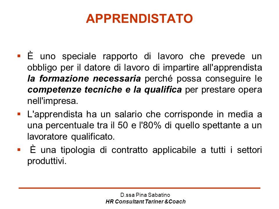 D.ssa Pina Sabatino HR Consultant Tariner &Coach APPRENDISTATO  È uno speciale rapporto di lavoro che prevede un obbligo per il datore di lavoro di i