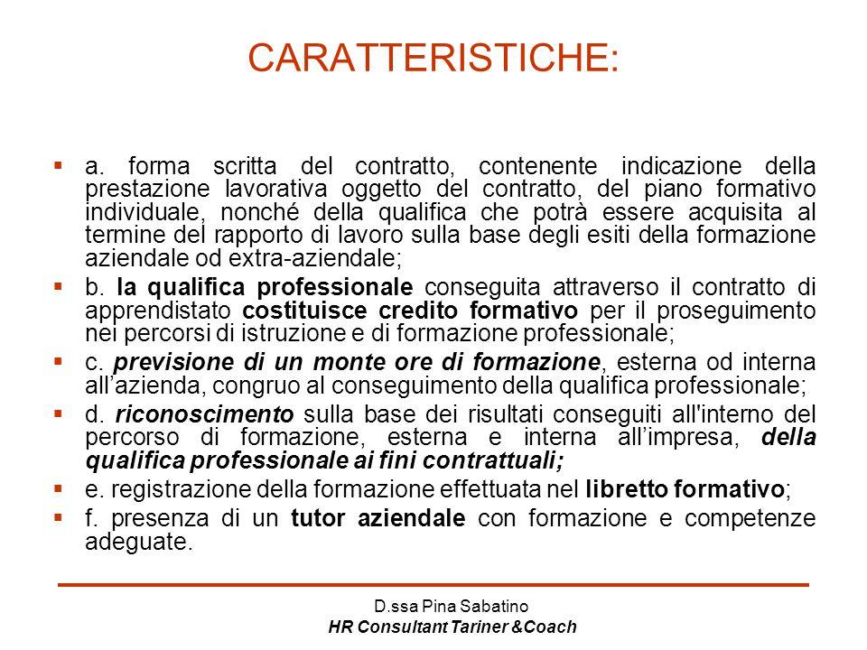 D.ssa Pina Sabatino HR Consultant Tariner &Coach CARATTERISTICHE:  a. forma scritta del contratto, contenente indicazione della prestazione lavorativ