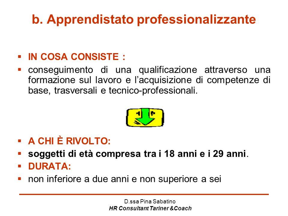 D.ssa Pina Sabatino HR Consultant Tariner &Coach b. Apprendistato professionalizzante  IN COSA CONSISTE :  conseguimento di una qualificazione attra