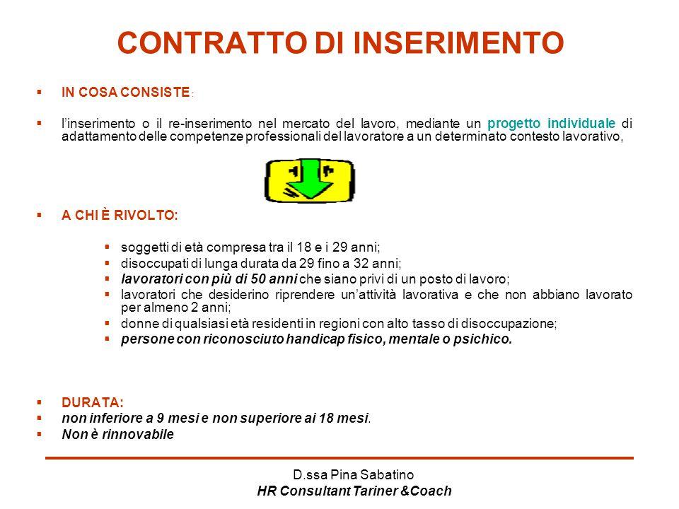 D.ssa Pina Sabatino HR Consultant Tariner &Coach CONTRATTO DI INSERIMENTO  IN COSA CONSISTE :  l'inserimento o il re-inserimento nel mercato del lav