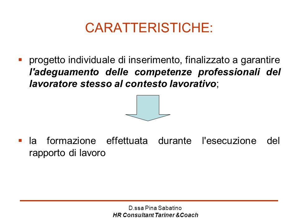 D.ssa Pina Sabatino HR Consultant Tariner &Coach CARATTERISTICHE:  progetto individuale di inserimento, finalizzato a garantire l'adeguamento delle c