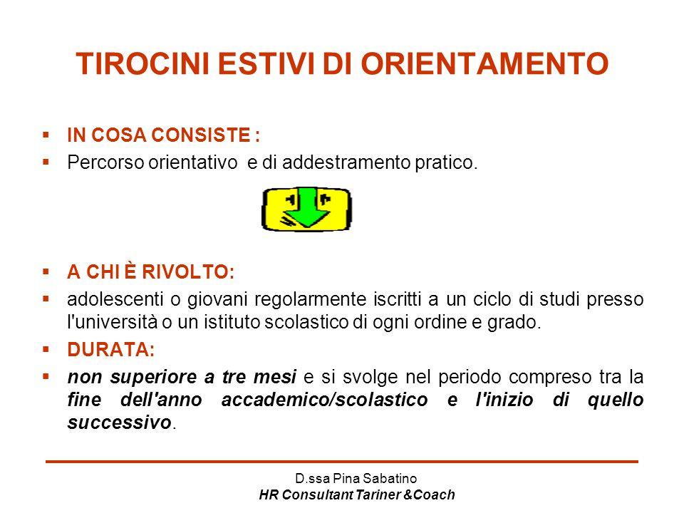 D.ssa Pina Sabatino HR Consultant Tariner &Coach TIROCINI ESTIVI DI ORIENTAMENTO  IN COSA CONSISTE :  Percorso orientativo e di addestramento pratic