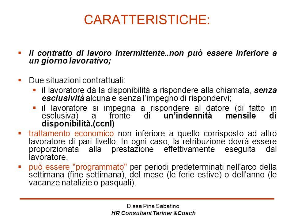 D.ssa Pina Sabatino HR Consultant Tariner &Coach CARATTERISTICHE:  il contratto di lavoro intermittente..non può essere inferiore a un giorno lavorat