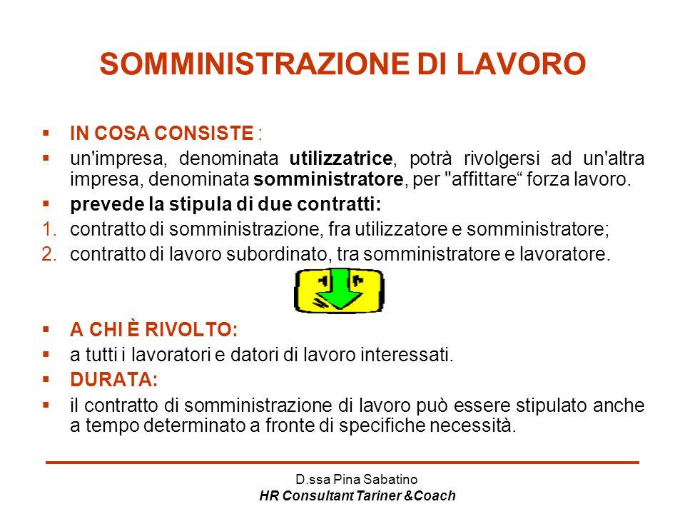 D.ssa Pina Sabatino HR Consultant Tariner &Coach SOMMINISTRAZIONE DI LAVORO  IN COSA CONSISTE :  un'impresa, denominata utilizzatrice, potrà rivolge