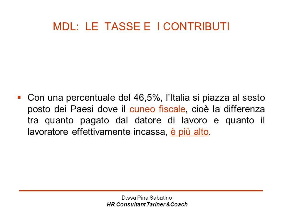 D.ssa Pina Sabatino HR Consultant Tariner &Coach MDL: LE TASSE E I CONTRIBUTI  Con una percentuale del 46,5%, l'Italia si piazza al sesto posto dei P
