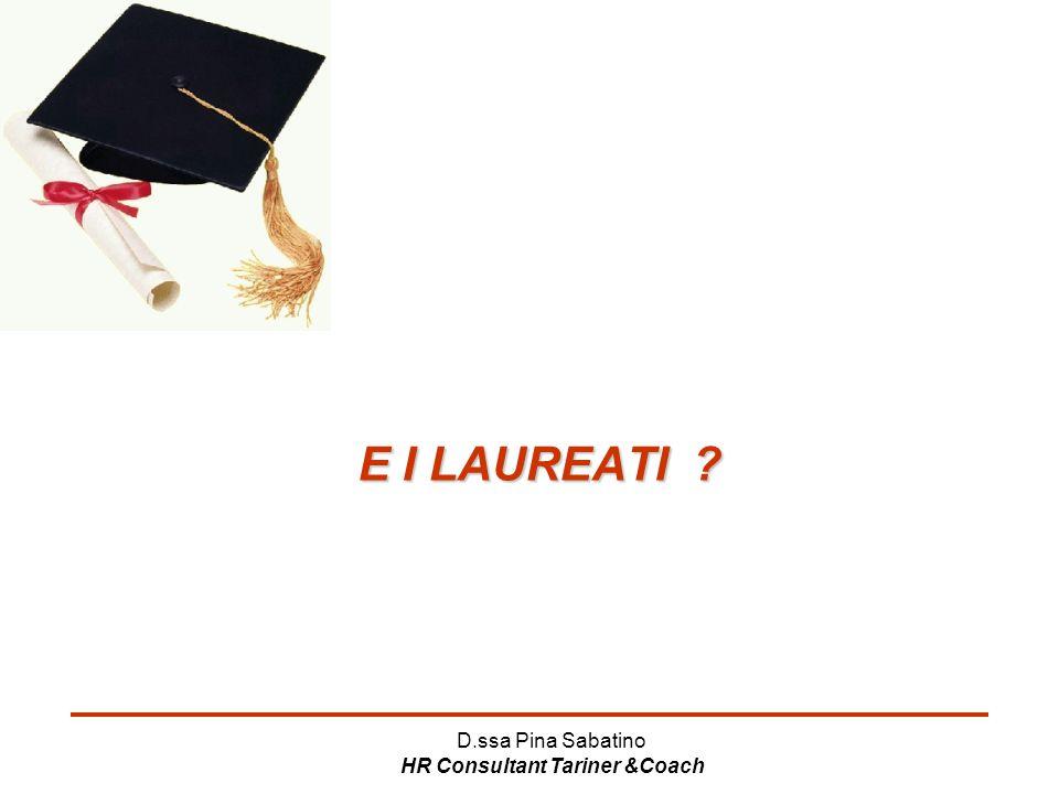 D.ssa Pina Sabatino HR Consultant Tariner &Coach E I LAUREATI ?