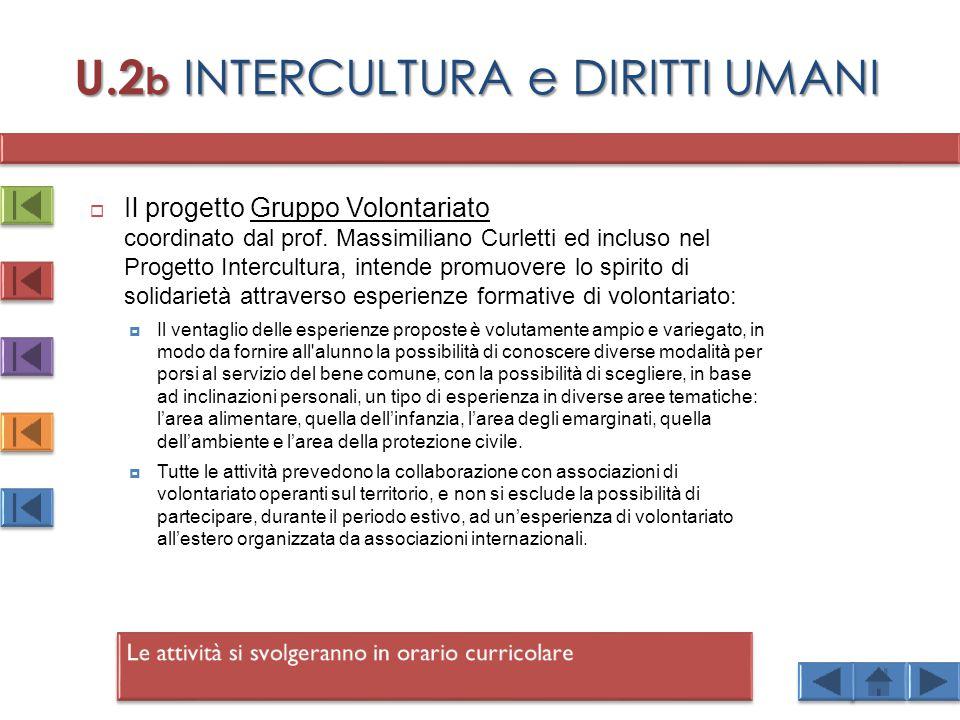 U.2 b INTERCULTURA e DIRITTI UMANI  Il progetto Gruppo Volontariato coordinato dal prof.