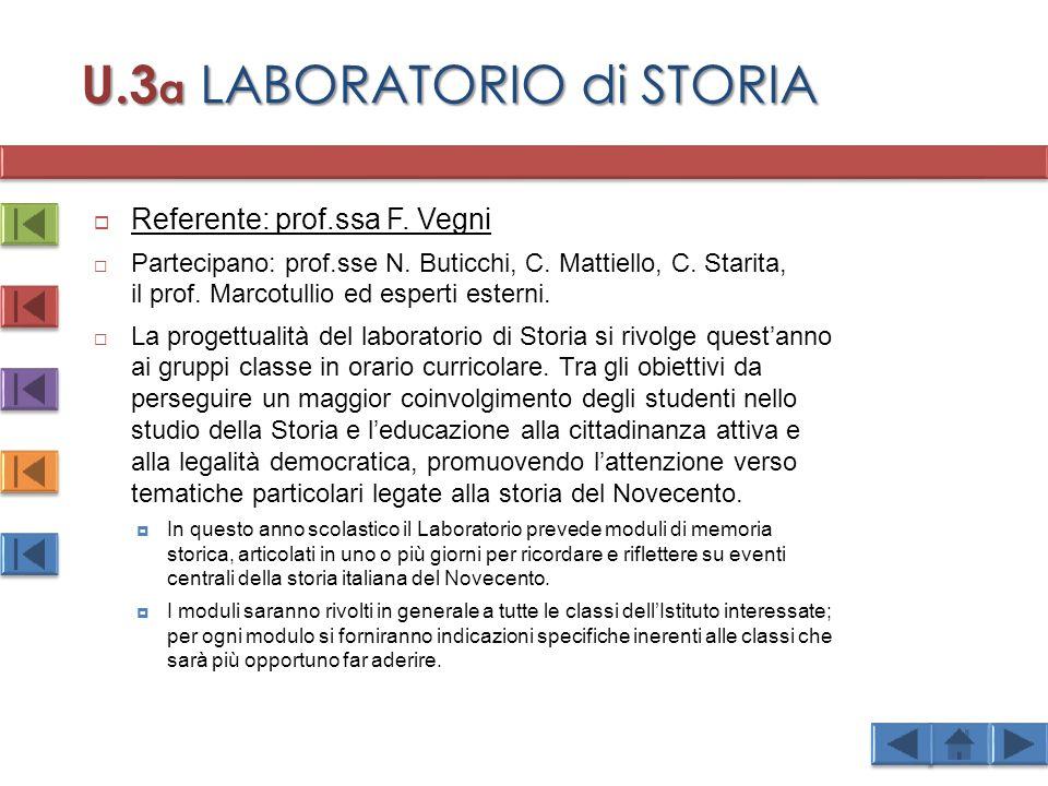 U.3 a LABORATORIO di STORIA  Referente: prof.ssa F.