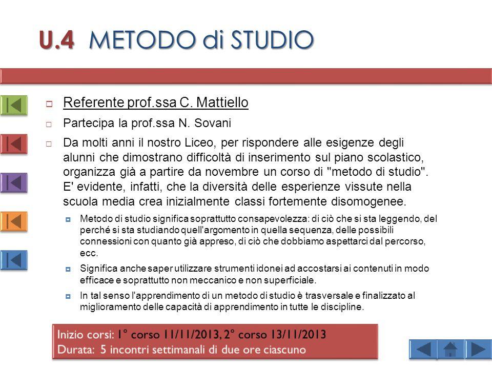 U.4 METODO di STUDIO  Referente prof.ssa C.Mattiello  Partecipa la prof.ssa N.