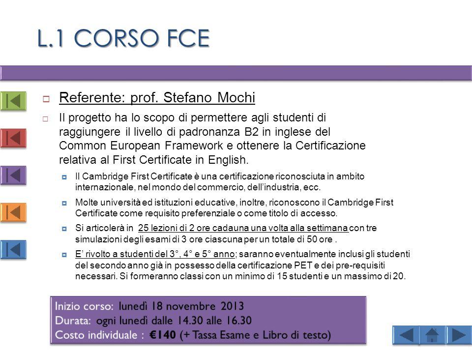 L.1 CORSO FCE  Referente: prof.