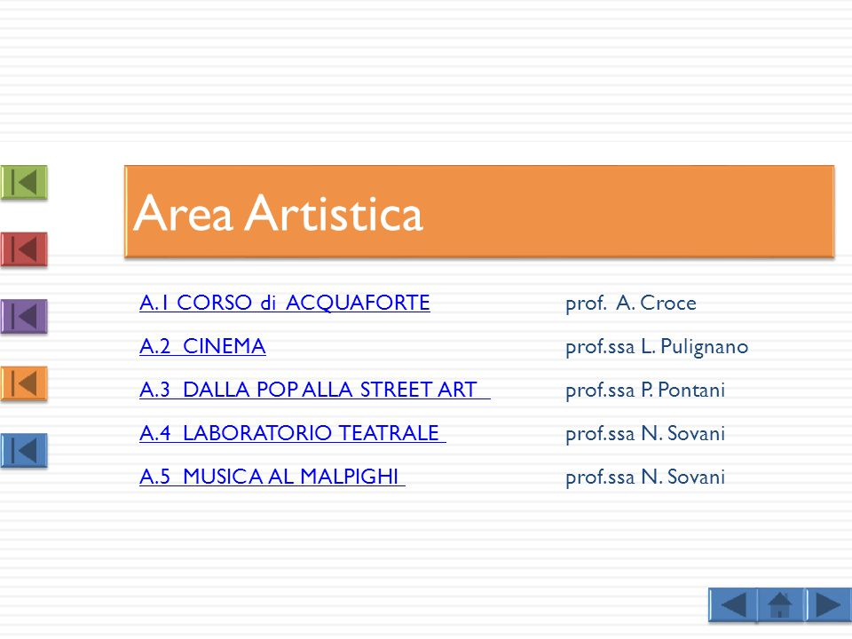 A.1 CORSO di ACQUAFORTEA.1 CORSO di ACQUAFORTEprof. A. Croce A.2 CINEMAA.2 CINEMAprof.ssa L. Pulignano A.3 DALLA POP ALLA STREET ART A.3 DALLA POP ALL