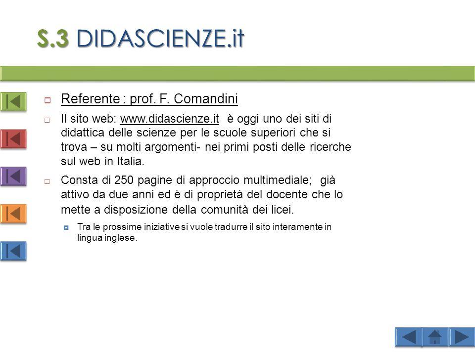 S.3 DIDASCIENZE.it  Referente : prof.F.