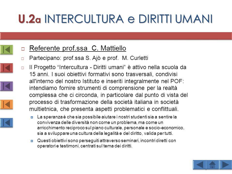 U.2 a INTERCULTURA e DIRITTI UMANI  Referente prof.ssa C.