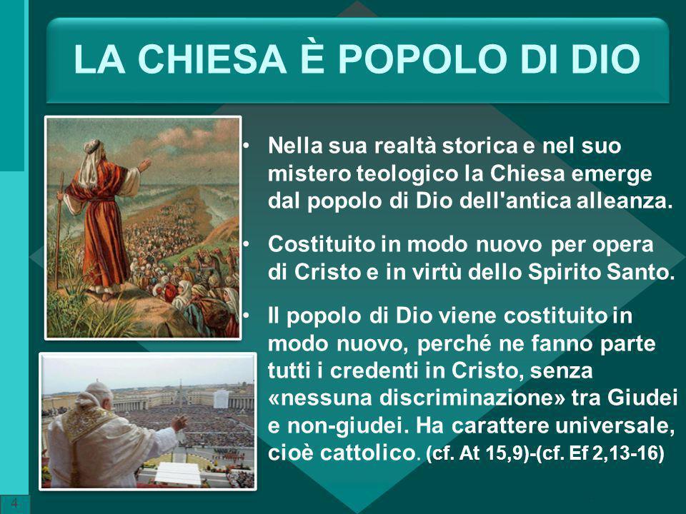LA CHIESA È POPOLO DI DIO Nella sua realtà storica e nel suo mistero teologico la Chiesa emerge dal popolo di Dio dell'antica alleanza. Costituito in