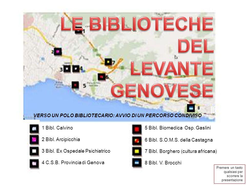 VERSO UN POLO BIBLIOTECARIO: AVVIO DI UN PERCORSO CONDIVISO 1 Bibl. Calvino 2 Bibl. Arcipicchia 3 Bibl. Ex Ospedale Psichiatrico 4 C.S.B. Provincia di