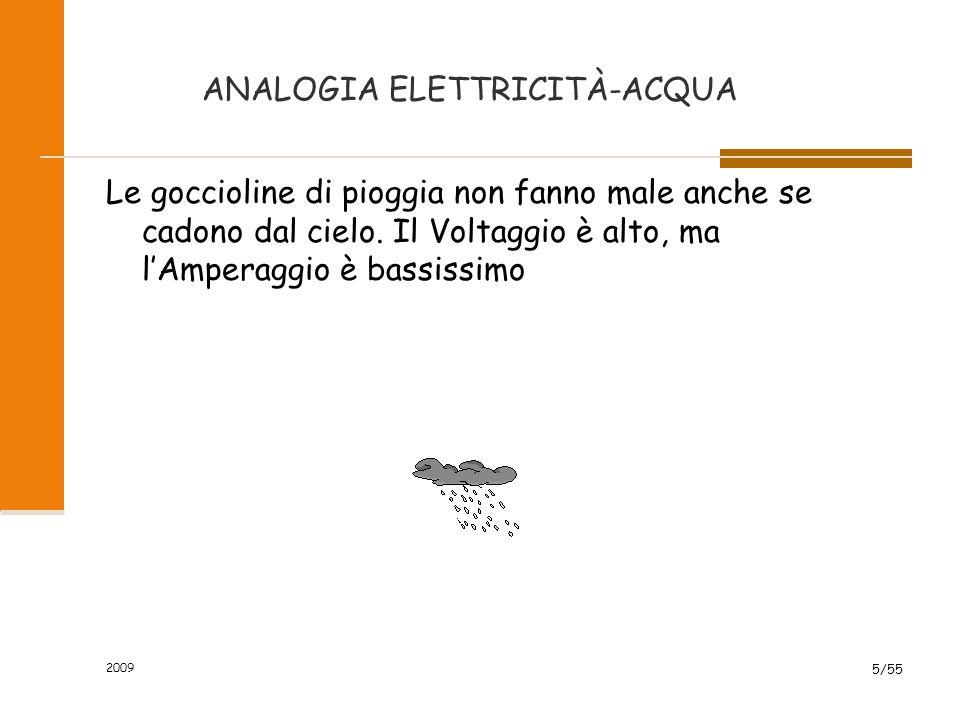 """ANALOGIA ELETTRICITÀ-ACQUA 2009 4/55 La portata di acqua si chiama intensità di corrente o corrente.Si misura in ampere Il dislivello """"orografico"""" che"""