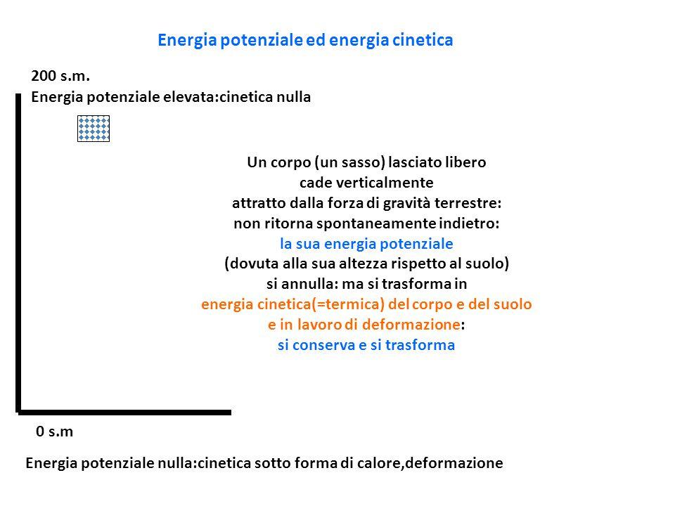 Energia potenziale ed energia cinetica 0 s.m 200 s.m. Energia potenziale elevata:cinetica nulla Energia potenziale nulla:cinetica sotto forma di calor