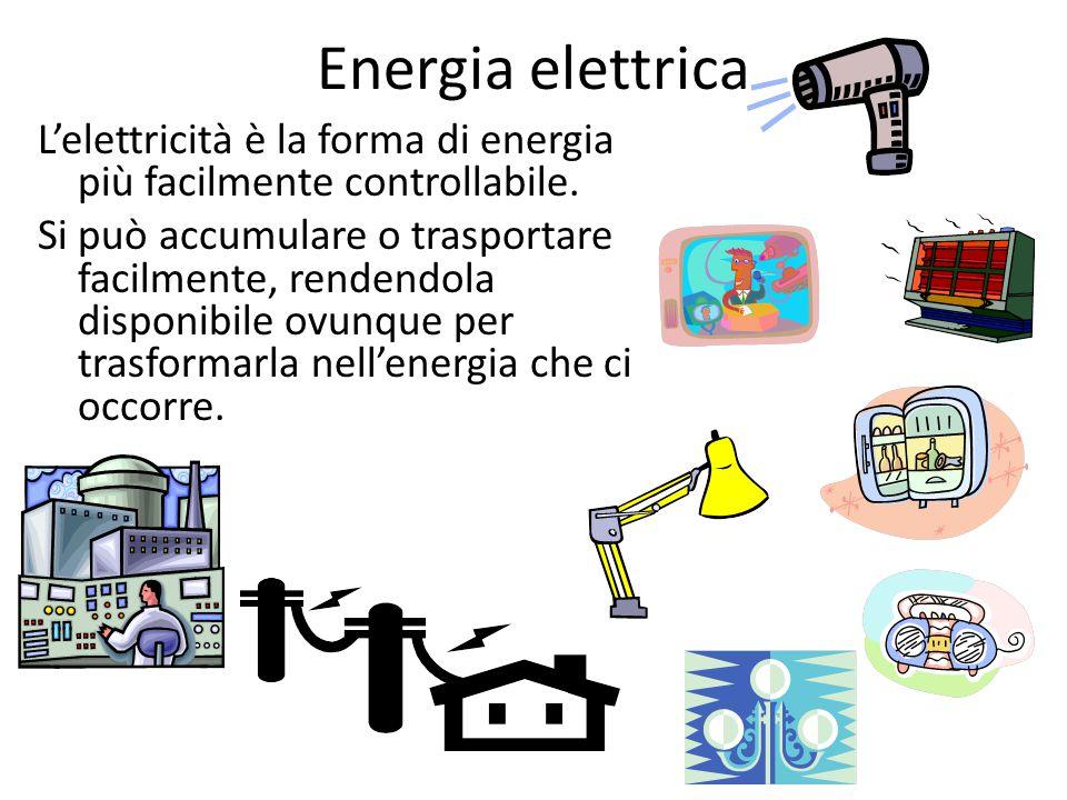 Energia elettrica L'elettricità è la forma di energia più facilmente controllabile. Si può accumulare o trasportare facilmente, rendendola disponibile