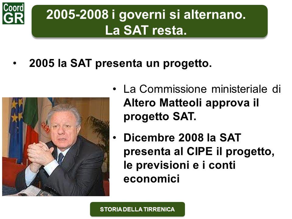 STORIA DELLA TIRRENICA La Commissione ministeriale di Altero Matteoli approva il progetto SAT. 2005-2008 i governi si alternano. La SAT resta. 2005 la