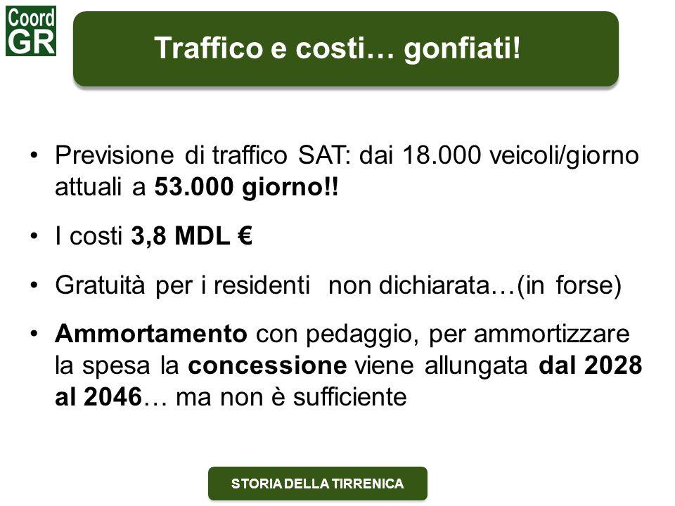 STORIA DELLA TIRRENICA Previsione di traffico SAT: dai 18.000 veicoli/giorno attuali a 53.000 giorno!! I costi 3,8 MDL € Gratuità per i residenti non